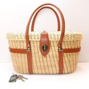 Vintage Basket Bag w/Turnlock